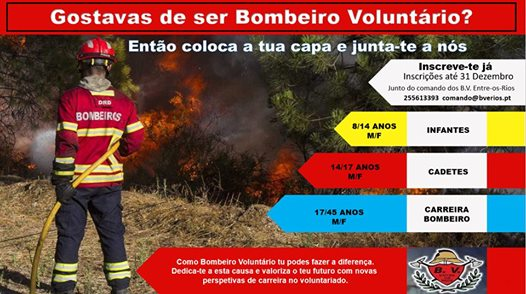 Bombeiros Voluntários de Entre os Rios - Junta-te a nós